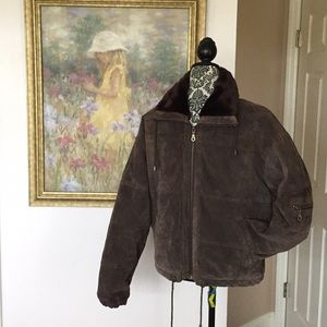 Vintage Learsi Brown Suede Bomber Style Jacket